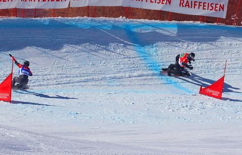 Alex Pullin (AUS), Mick Dierdorff (USA), Julian Lueftner (AUT). Snowboard Cross World Cup, Veysonnaz, 16/03/2019