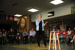 Elizabeth Warren with supporters