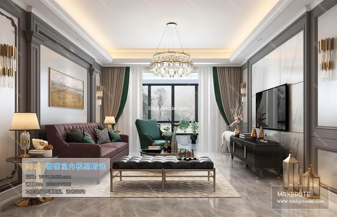 LivingRoom Classic style 3d66 2019 download 3d model 3d66 2019