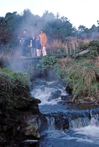 Hot water stream, tumbling into Waikato River, Taupo, July 6, 1992