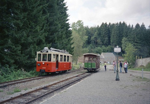 TTA Vicinal railcar running round at Pont d'Erezée