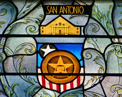Stained glass San Antonio coat-of-arms