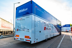 Audi R8LMS Race Team Trucks Headed for Brands Hatch, And Thanks to the Driver for the Hat :)