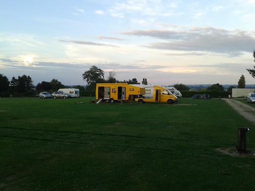 Yellow mobile home