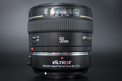 Side view of a Canon EF 50mm F1.4 USM on a VILTROX EF-EOS M2 Lens Adapter 0.71x Speed Booster