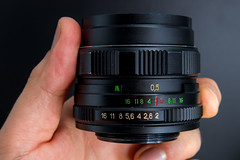 Side view of a Helios 44M-4 58mm F2