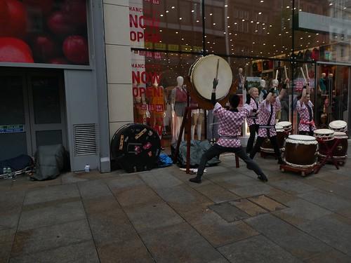 Street musicians waking up the homeless....