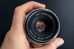 Front view of a Carl Zeiss Jena Tessar 2.8/50