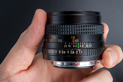Side view of an Auto Chinon Multi-Coated 50mm F1.7
