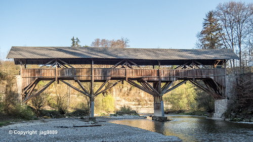 NEC350 Letzi Covered Wooden Bridge over the Necker River, Luetisburg - Ganterschwil, Canton of St. Gallen, Switzerland