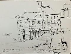 Quimperlé, sur la place Lovignon, avec les copains croqueurs