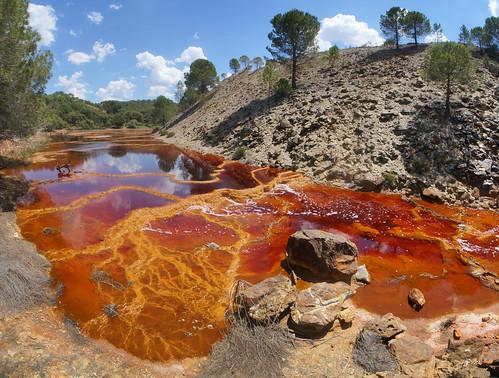 Gours estromatolíticos formados en lixiviados ácidos de drenaje de derrubios mineros - Río Tintillo (Faja Pirítica Ibérica, El Campillo, Huelva, España) - 08