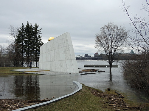 The Royal Canadian Navy Monument overwhelmed by the swollen Ottawa River during this spring's thaw in Ottawa, Ontario