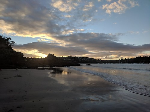 Oneroa Beach at sunset