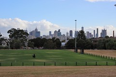View of Melbourne skyline from Quarries Park, Clifton Hill