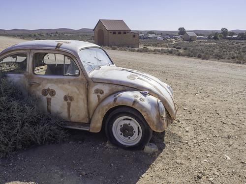 Volkswagen Beetle with trademart Emu Art by Peter Browne