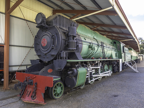 Steam Locomotive W24 named Malcolm Moore seen at Broken Hill's Sulphide Street Railway Complex