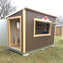 Store 200 Aussie 6x12 PL-2 Bar-Concession Stand with shlelves, window and a shed door turned sideways