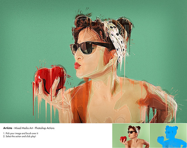Artista – Mixed Media Art Photoshop action