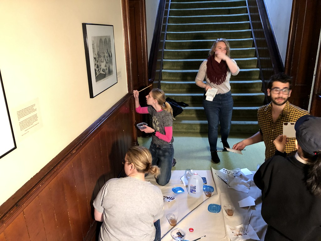 Students work together to restore details in the Oneida Community Mansion House during CRP's Work Weekend.  photo / Dorothy Qian (M.R.P. '20)