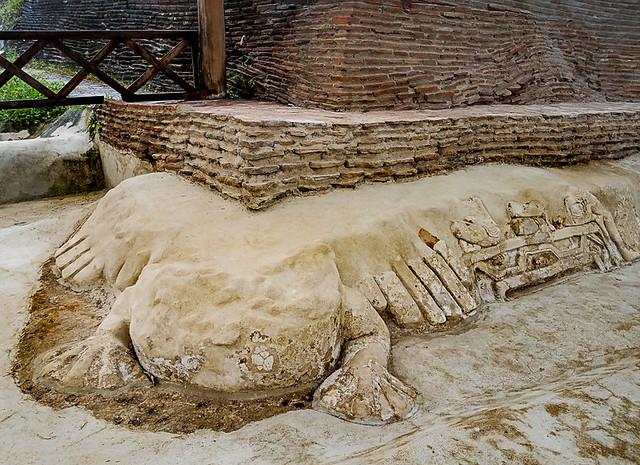 Frog foundation.Comalcalco Mayan Ruins.Villahermosa