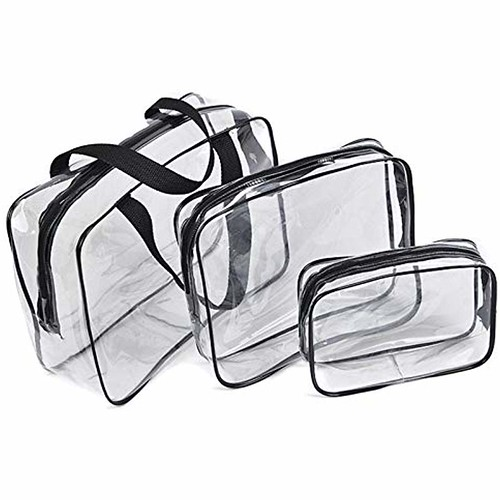3Pcs Crystal Clear Cosmetic Bag, Waterproof Packing Organizer Storage Travel Toiletry Bag Set with Zipper Vinyl PVC Make-up Pouch Handle Straps for Women Men #luggage&travelgear #travelgearluggagetarget #travelgearluggagebrand #everestluggagetravelgearbag