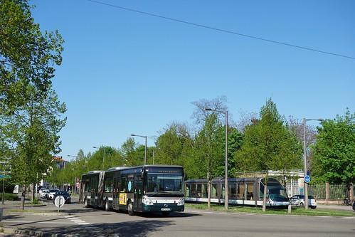 Irisbus Citelis 18 n°334 & Bombardier Eurotram n°1052  -  Strasbourg, CTS