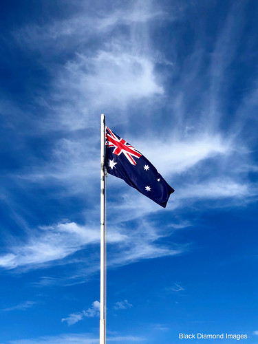 Australian Flag Flying over Cirrus Cloud outside Forster Private Hospital, NSW, May 20th 2019