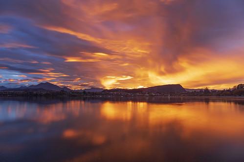 Fiery Sunrise Sky, Wanaka, New Zealand