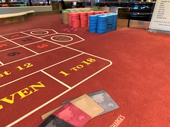 Roulette table with casino chips