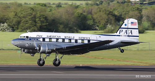 "N33611 ""Clipper Tabitha May"" a 1945 McDonnell Douglas DC3-C arrives from the USA via Canada and Iceland at Prestwick. 20/5/19"
