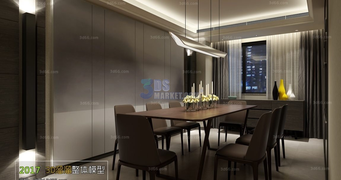 Astonishing Dining Room Kitchen Model 001 Modern Style 3D66 3Ds Download Free Architecture Designs Grimeyleaguecom