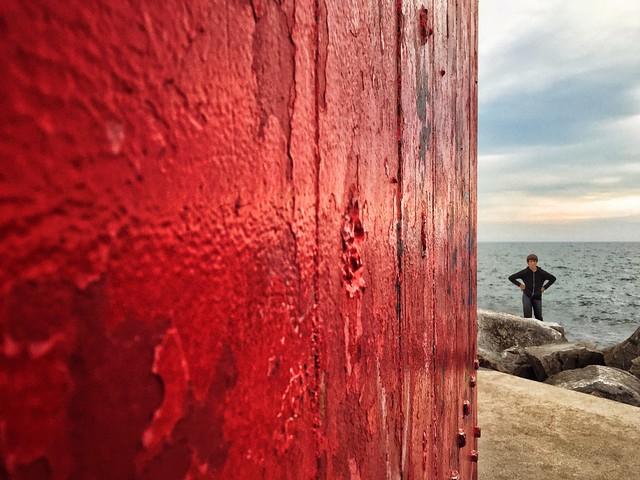 Boy Akimbo at Muskegon South Pierhead Lighthouse, circa 2015.