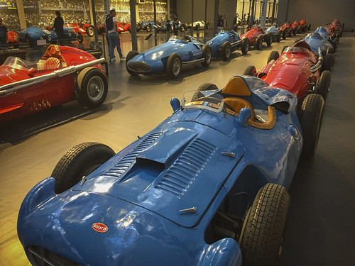 Early Grand Prix grid display at Cité de l'Automobile, the home of the fabulous Schlumpf automobile collection in Mulhouse, France