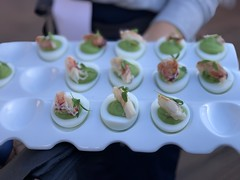 Pea puree deviled eggs Dungess crab