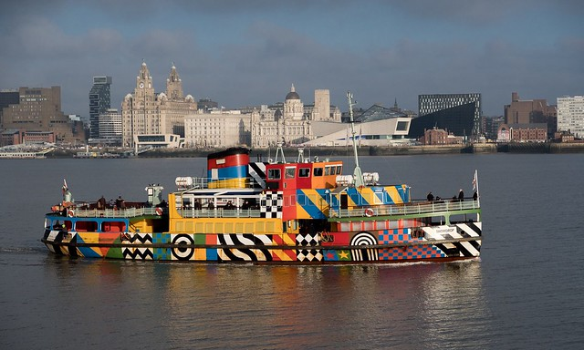 Mersey Ferry, Snowdrop in its 'Razzle Dazzle' livery on the River Mersey