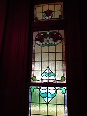 Wayville Adelaide. Stained glass or leadlight window in Mawson House. It was built in 1909 in Queen Anne and Art Deco style.
