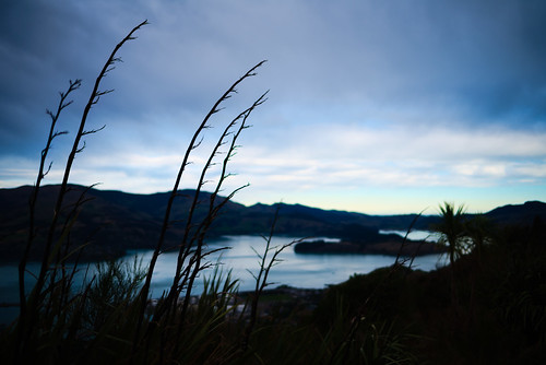 Contrasting light at top of the Port Hills