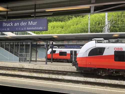 Trains at the platforms, railway station, Bruck an der Mur, Austria