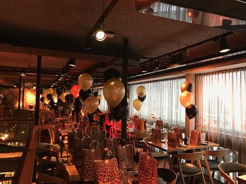 Tafeldecoratie 3ballonnen Ladiesnight Cafe in the City Rotterdam