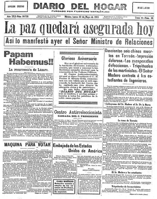 1911 05 22  La paz quedará asegurada hoy (Diario Del Hogar). Página 1