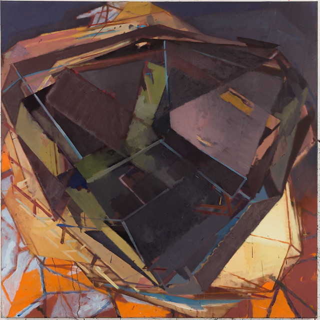 D. Twostep, 120x120cm, Eitempera-Öl/Pigmente, 2019