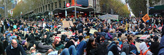 Panorama - Mass Die-in Bourke and Swanston street Extinction Rebellion - Melbourne solidarity rally for global #climatestrike - IMG_4663 - IMG_4666