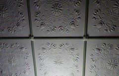 Wayville Adelaide. Decorative plaster ceiling panels in the drawing room of Mawson House. Built in 1911 in the Queen Anne style.