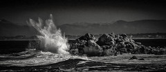 Splash on the Rocks B&W