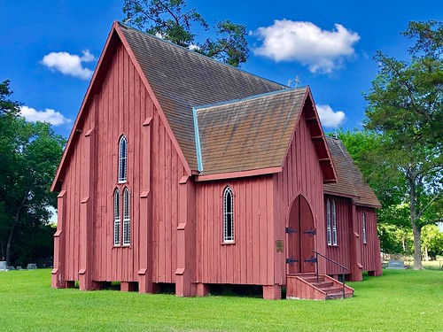 "St. Andrew's Episcopal Church, Prairieville, Alabama.   An example of 19th Century ""Carpenter Gothic."""