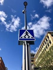 Pedestrian crossing sign against a cloudy blue sky