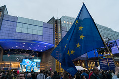 Outside the European Parliament in Brussels