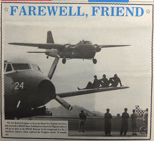 16 Mar 1978 RNZAF Bristol Freighter NZ5903 departs Auckland for the Air Force Museum at RNZAF Wigram, Christchurch. The remaining Freighters were sold to Dwen Airmotive and flown to Ardmore on the 1st & 2nd of Sep 1978.