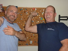 Jerry & Mike flexing @ Mikes apt, Tampa, FL.